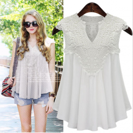 9809 chiffon sleeveless V-neck spliced ​​lace pleated chiffon blouse