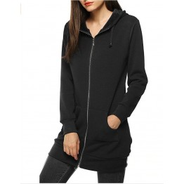 9839 drawstring waist hooded zipper long sleeve pocket long coat