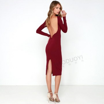 7011 European and American sexy halter solid color dress