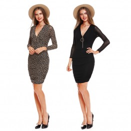 9834 grenadine v neck long sleeve dress