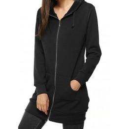9839 drawstring waist hooded zipper long sleeve pocket long coat