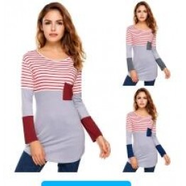 9838 fashion color matching stripes long sleeve irregular T-shirt