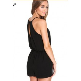 9822 black halter backless jumpsuit