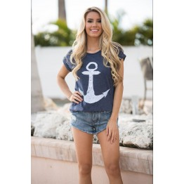 9836 summer anchor printing short-sleeved cotton T-shirt