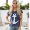 9836 summer anchor printing short-sleeved cotton T-shirt