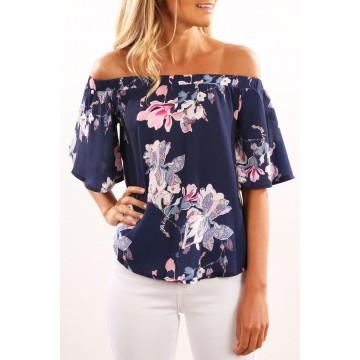 7085 boat neck flower printing irregular shirt