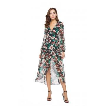 1006-1 Printing Lacing Long Sleeve Dress
