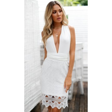 1010 New Style Halter Tie Lace Dress