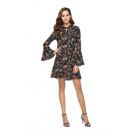 1007 Trumpet Sleeve Long Sleeve Print Dress