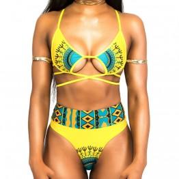 G0016 strap printed swimsuit bikini