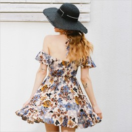 7081 summer hollow printing strapless beach dress