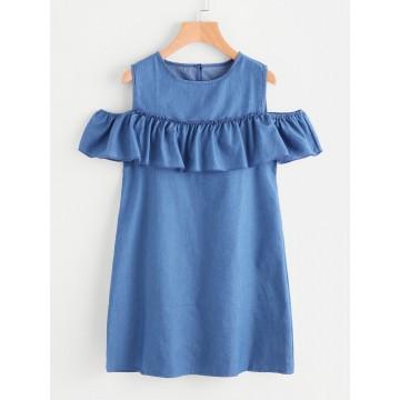 9916 Off shoulder Denim Dress