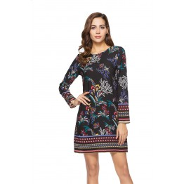 1008 Printing Long Sleeve Dress