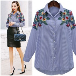 7065 bright flowers embroidered temperament stripe shirt