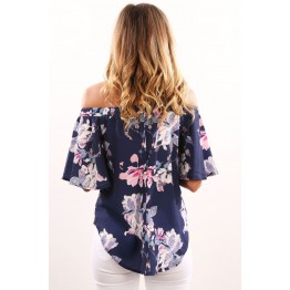 7085 boat neck flower printing irregular shirt