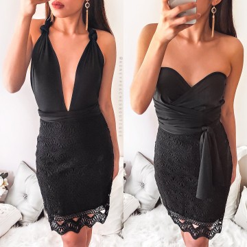 1010-1 New Black Halter Tie Lace Dress