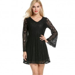 7088 loose lace summer sexy V-neck crochet cocktail dress