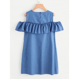 9916 Off shoulder Denim Dress