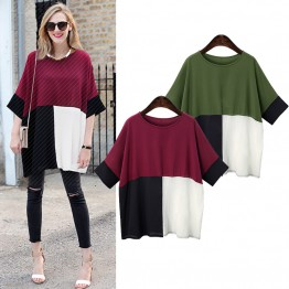 7075 large size bat loose color sleeve T-shirt