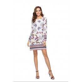 1008-1 Printing Flower Long Sleeve Dress