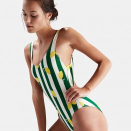 8988 lemon green striped one piece swimsuit