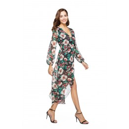 1006-1 Printing Lacing Long Sleeve Dress