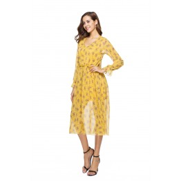 1009-1 two-piece long-sleeved small floral long dress