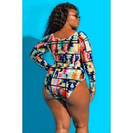 G0018 bikinis geometric print large size swimsuit
