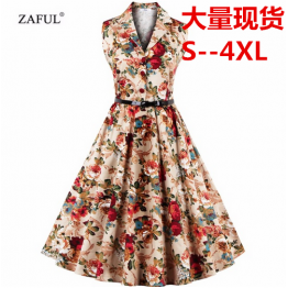 7073 Hepburn sexy retro sleeveless floral print dress with belt
